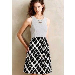 Tabitha ANTHROPOLOGIE Aleida 0 Black White Dress